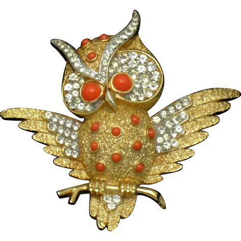 brooch owl rhinestone vintage png 1216x1216